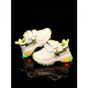 Walktrendy Kids White & Green Slip-On Sneakers With LED Lights
