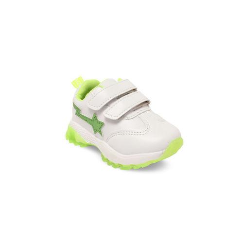 Walktrendy Kids White & Green Slip-On Sneakers With LED Lights