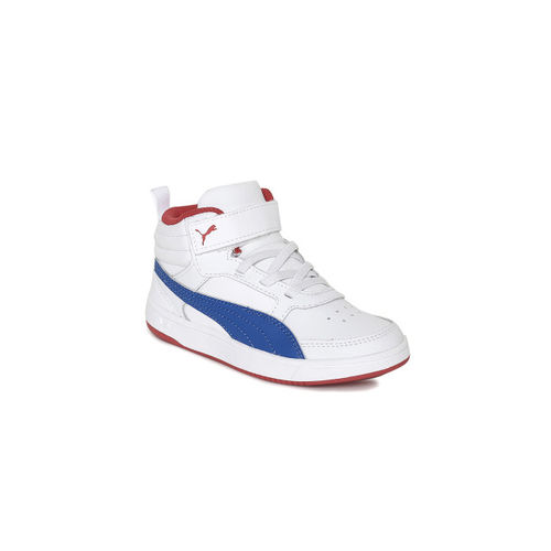 Puma Boys White Solid Rebound Street v2 L V Ps Solid Leather Mid-Top Sneakers