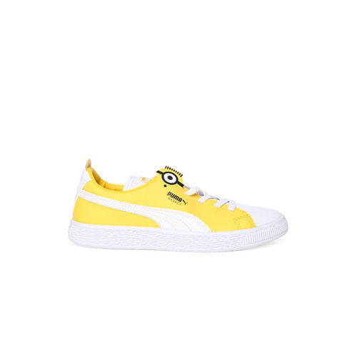 Puma Kids White & Yellow Basket BS AC PS Colourblocked Sneakers