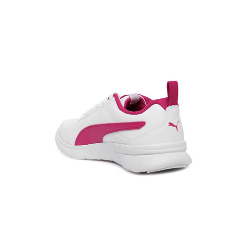 PUMA Kids White & Pink Flex Essential SL Junior Sneakers