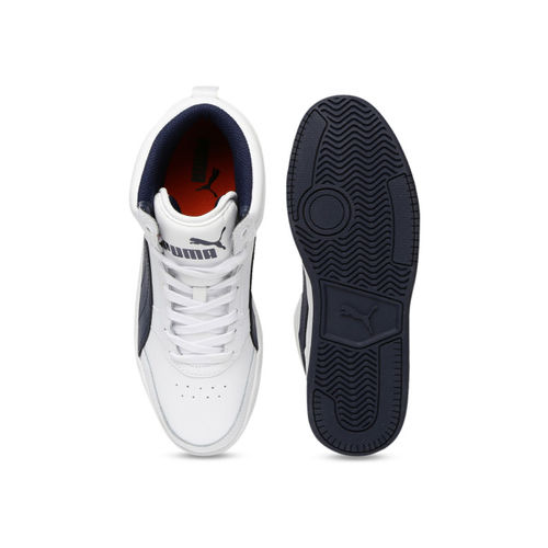 Puma Unisex White Striped Leather Mid-Top Sneakers