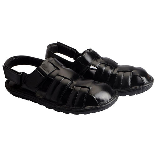 c79be195a4ed Buy Fausto Men s Black Leather Outdoor Floaters and Sandals online ...