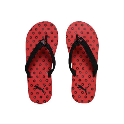 Puma Unisex Red & Black Printed Thong Flip-Flops