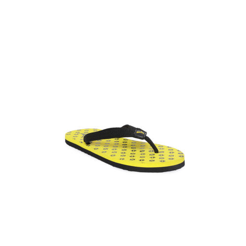 Puma Kids Black & Yellow Epic Toss PS IDP Printed Thong Flip-Flops