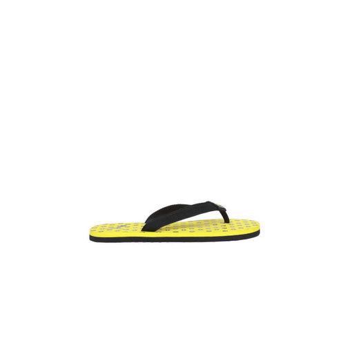 Puma Kids Black & Yellow Epic Toss PS IDP Printed Thong Flip-Flops