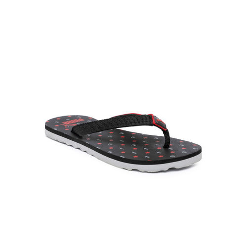 Puma Kids Black & Red Tiara PS IDP Printed Thong Flip-Flops