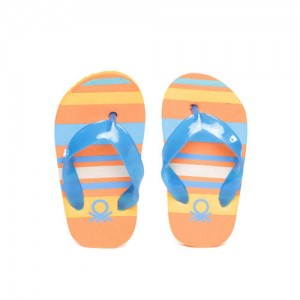 92b70ed367a1b United Colors of Benetton Kids Blue   Orange Striped Thong Flip-Flops