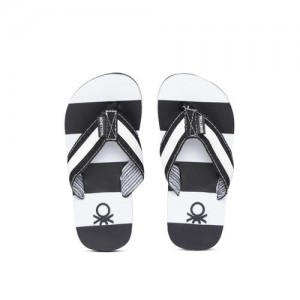 89dcb1d6ef8b United Colors of Benetton Boys White   Black Striped Thong Flip-Flops