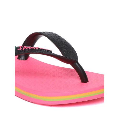 iPanema Kids Black & Coral Pink Textured Thong Flip-Flops