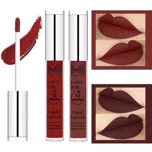 MI Fashion Liquid Lipstick Combo Set of 2  Matte Waterproof Kiss Proof Long Lasting  and  Made in India 