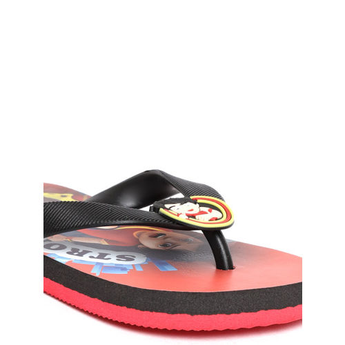 Shiva Boys Black & Red Printed Thong Flip-Flops