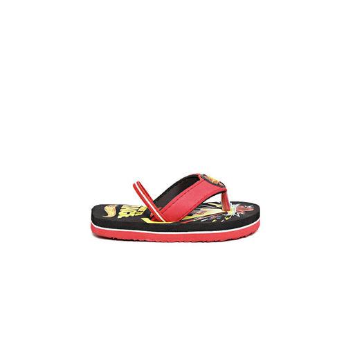 Hot Wheels Boys Black & Red Printed Thong Flip-Flops