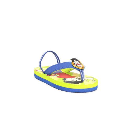Shiva Boys Blue & Yellow Printed Thong Flip-Flops
