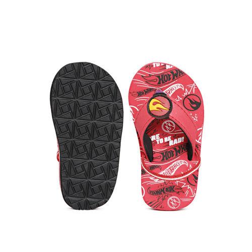Hot Wheels Boys Red & Black Printed Thong Flip-Flops