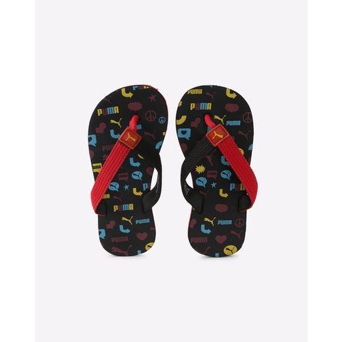 Puma Kids Red & Black Terry Y1 GU PS IDP Printed Thong Flip-Flops