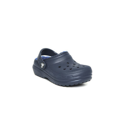 Crocs Kids Navy Blue Solid Clogs