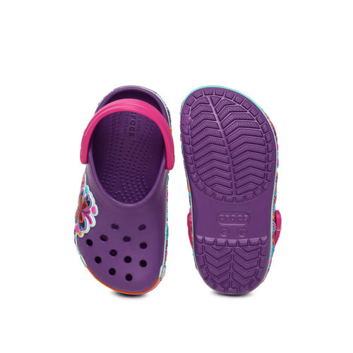 Crocs Kids Purple Printed Clogs