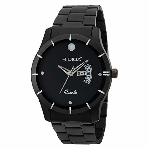 RIDIQA Black DIAL Analog Sports Watch for Men/Boys/Black Stainless Steel Casual Stylish