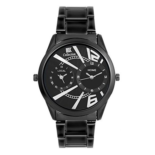 Iik Collection Watches Analogue Round Black Dial Dual Time Watch For Mens And Boys -Iik-087M