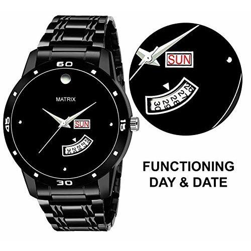 Matrix Premium Day & Date Black Dial Watch for Men's & Boys (DD-48)