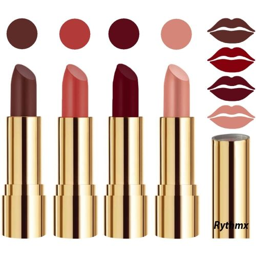Rythmx Professional Timeless 4 Colors Collection Velvet Touch Matte Lipstick Long Stay on Lips