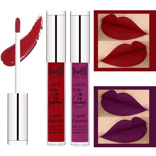 MI Fashion Matte Liquid Lipsticks Waterproof Long Lasting Pigmented Lip Gloss Set of 2