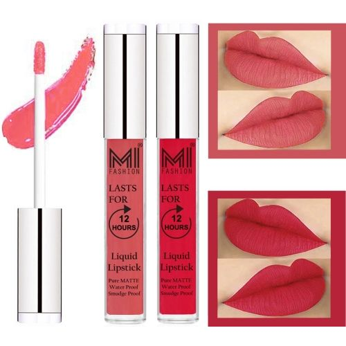 MI Fashion Liquid Matte Lipsticks |Waterproof|Smudge Proof| Made in India|and|Long Lasting| Set of 2 Lipsticks