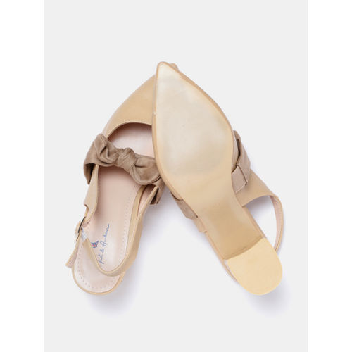 Mast & Harbour Women Beige Solid Pumps with Bow Detail