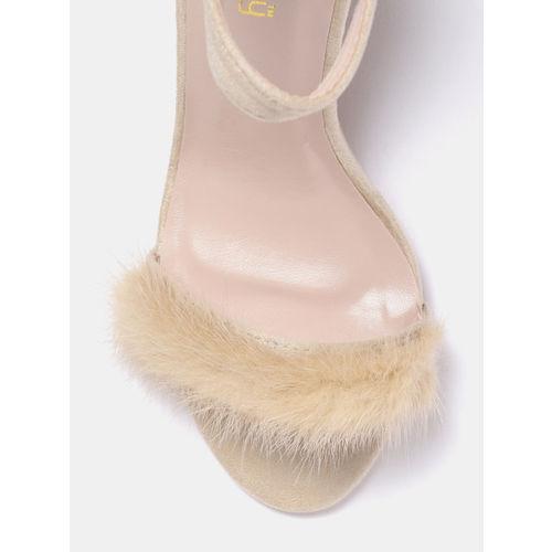 DressBerry Women Beige Solid Open Toe Heels