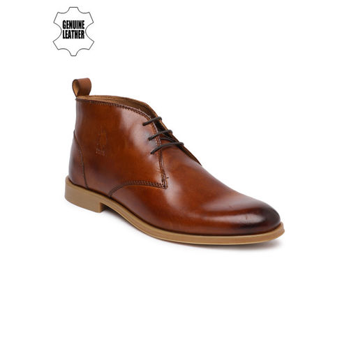 U.S. Polo Assn. Men Tan Brown Solid Leather Mid-Top Derbys