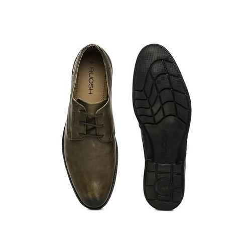 Ruosh Men Taupe GOA Leather Derbys