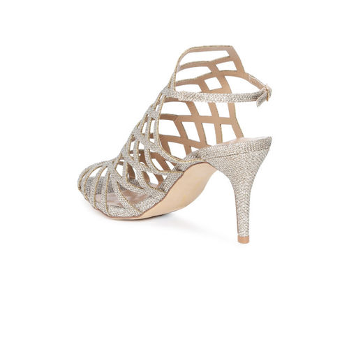 Catwalk Gold-Toned Synthetic Embellished Peep Toes