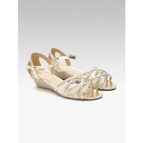 Dune London Women Gold-Toned Braided Heels