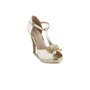Sherrif Shoes Women Gold-Toned Solid Peep Toes