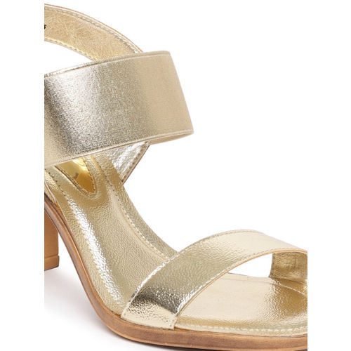 Catwalk Women Gold-Toned Solid Heeled Sandals