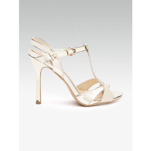 Elle Women Gold-Toned Solid Stilettos