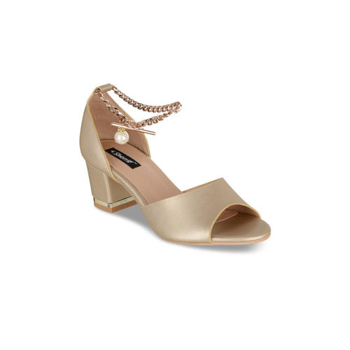 Sherrif Shoes Women Gold-Toned Solid Heels