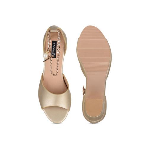 Sherrif Shoes Women Gold-Toned Solid Heels