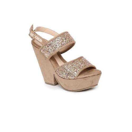 Catwalk Women Brown Embellished Platform Sandals