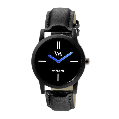 WM Men Black Leather Analogue Watch WMC-002zx