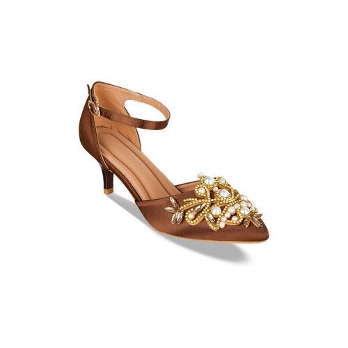Sherrif Shoes Women Brown Embellished Pumps