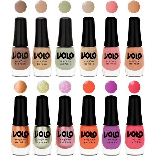 Volo Color Rich Toxic Free Perfection Shine Nail Polish Set of 12 Dark Skin, Skin, Mischievous Mint, Candy Cotton, Dark Skin, Skin, Bronze Magnetic, Metallic
