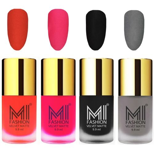 MI Fashion Premium Quality Dull Velvet Matte Nail Polish Duo Pont Flat Brush Exclusive Combo Orange,Neon Pink,Black,Grey