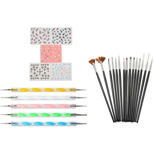 Looks United 15 Nail Art Brushes, 5 Dotting Tool And 5 Self Adhesive Sticker Sheets ( Pack of 25 )