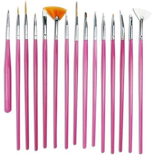 AlexVyan Pink Professional 15 Nail Art Brush(14 Brush and 1 Pen) for Nail Painting Designing Drawing Polish Nail Decoration and Nail Treatment