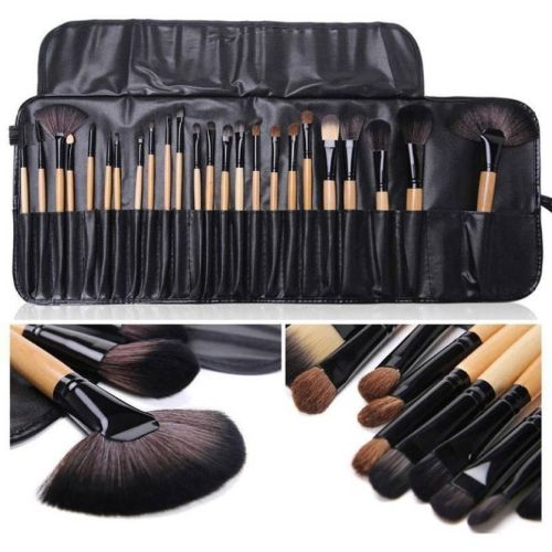 SKINPLUS Makeup Brush Set, 24 Pieces with Black PU Leather Case