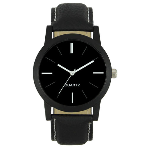 Art Fashion Analogue Round Plain Black Dial Men's Wrist Watch