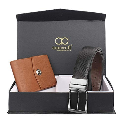 Amicraft Combo Pack of Faux Leather Wallet and Belt