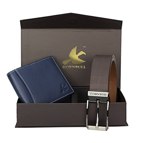 Hornbull Blue Wallet and Brown Belt Combo